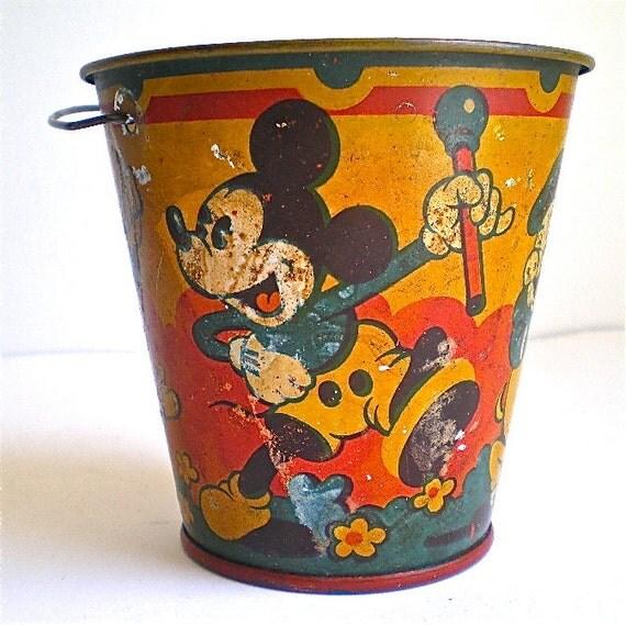 Mickey Mouse, Donald Duck, Disney, Vintage Pail, Happynak, Seaside Pail, Pig , Vintage Toy, 1930's