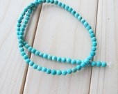 Mini turquoise beads, 2 strands 4mm round green turquoise beads