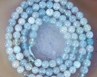 aquamarine beads, 15 inch strand 6mm light blue natural aquamarine beads