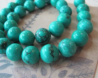 10mm turquoise beads, 10mm round turquoise gemstone beads