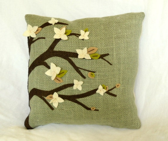 Burlap Pillow Sage Green with Tree Painting and Felt Flowers