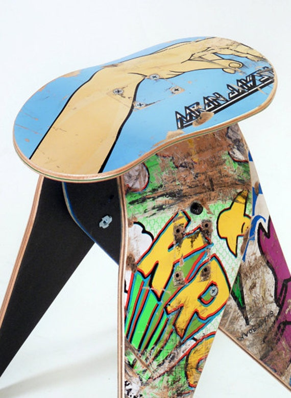 No.281- Recycled skateboard stool