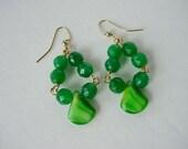 Green Beaded Dangle Earrings, Emerald Jade, Czech Glass