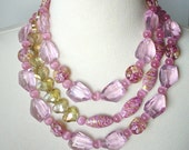 Pink Statement Necklace, Chunky Statement Necklace, Big Bold, Large Bead Crystal Necklace, Semiprecious Gemstone, Artisan Necklace