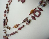 ON SALE - Wire Wrapped Long Gemstone Necklace, Heart Pendant, Fall Colors, Earthtones, Rust Red, Browns, Grays.