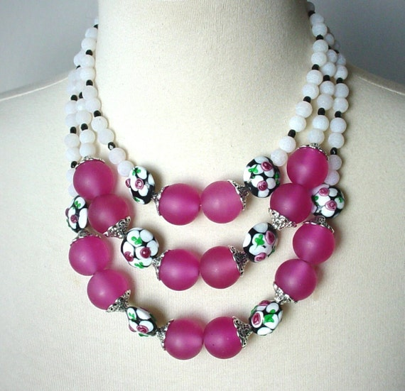 Hot Pink Chunky Statement Necklace, Triple Strand, Big Bold, White Semiprecious Crackle Agate