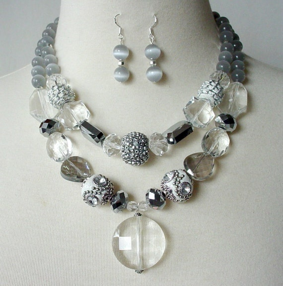 RESERVED, Crystal Statement Necklace, Silver Gray Cocktail Necklace,Artisan Necklace, Double Strand Chunky Necklace, Silver