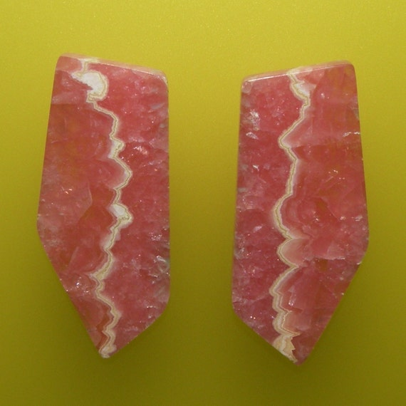 Rhodochrosite 100% Natural Hand Cut Matching Earring Cabochon Set  from Argentina, free shipping