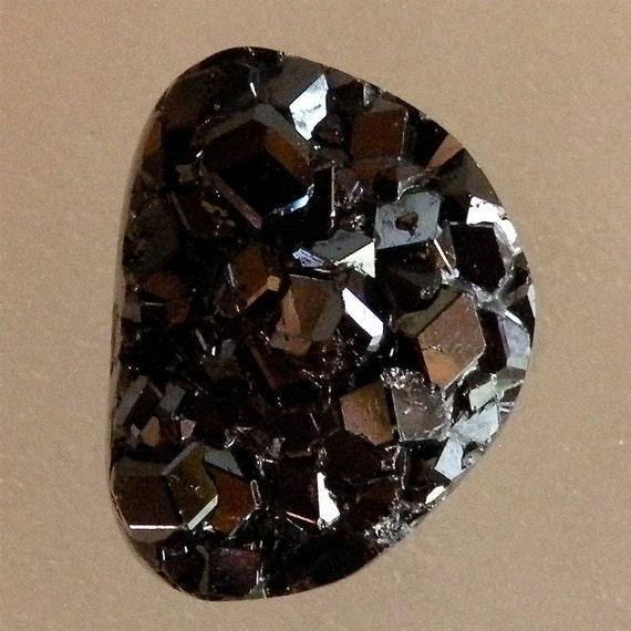 Andradite Black Garnet Crystal 100% Natural Hand Cut Cabochon from Mexico, free shipping