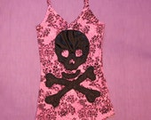 Woman Pirate Tank Top, Size M, Pink and black. Unique
