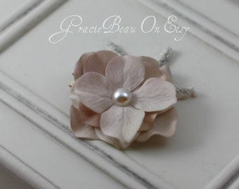 Off White Hydrangea Flower Hair Clip With Pearly Center
