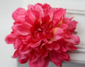 Large Hot Pink Flower Hair Clip Dahlia