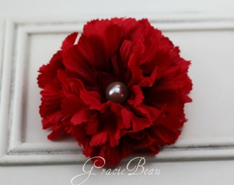 Red Flower Hair Clip With Pearly Center