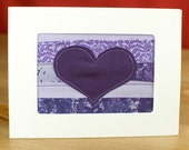 Valentine Card - February Birthday - Love Card - Anniversary Card - Handmade Purple Heart Quilt Greeting Card - Fabric Card