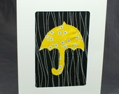 Bridal Shower Card - Fabric Greeting Card - Baby Shower Card - Patchwork Card - Yellow Umbrella