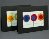 Rainbow Flowers  - Fabric Greeting Cards Set - Fabric Card - Quilt Cards