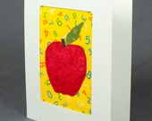 Apple Card - Teacher Thank You - Fabric Greeting Card - Teacher Appreciation - Quilt Card - Red and Yellow