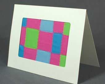 Pink Green and Blue Woven Quilt Handmade Greeting Card - Fabric Greeting Card - Framed Mini Quilt - Modern Quilt Card