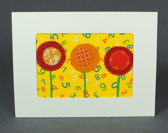Fabric Card - Handmade Greeting Card - Quilt Card - Blank Greeting Card - Red and Orange Flowers - Yellow - Patchwork Card