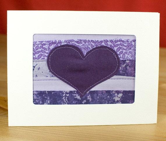 Valentine Card - February Birthday - Love Card - Anniversary Card - Handmade Purple Heart Quilt Greeting Card - Fabric Card