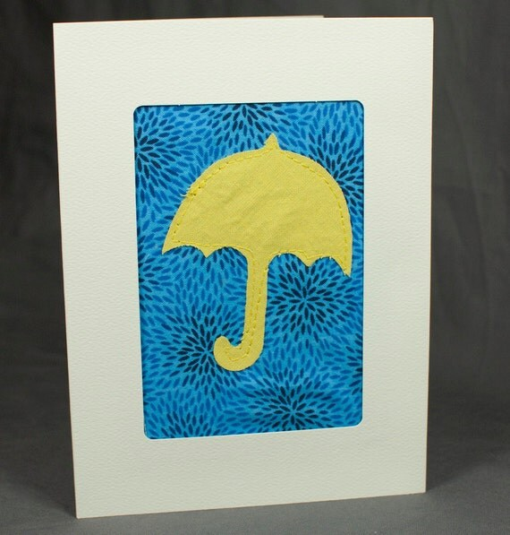 Baby Shower Card - Bridal Shower Card - Fabric Greeting Card - Yellow Umbrella - Patchwork - Quilted Card