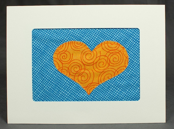 Love Card - Anniversary Card - Handmade Orange Heart Quilt Greeting Card