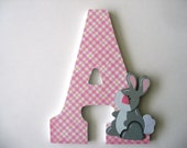 """1 Decorated 9"""" Wooden Letters, Personalized Nursery Name Décor, Alphabet Bedroom, Hanging Wood Wall Decorations, Birthday Baby Shower Gift"""