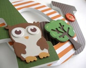 Owl & Tree Custom Decorated Wooden Letters, Nursery Name Décor, Boy Bedroom, Hanging Wood Wall Decorations, Baby Shower Gift Woodland Forest