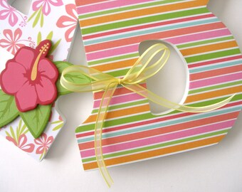 Custom Wood Letter Set, Pink and Orange Nursery, Hawaiian Baby Shower Decorations, Baby Name Wooden Wall Decor, Gift Ideas, Nursery Wall Art