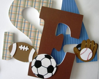 Wooden Letters for Nursery - Blue and Brown - Baby Boy Name Letter Set - Bedroom Wall Decor