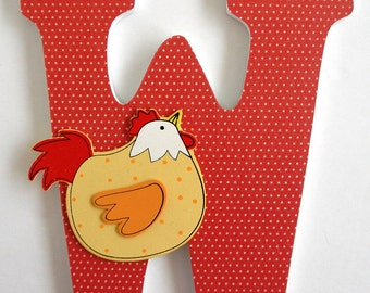 Custom Decorated Wooden Letters CHICKEN & ROOSTER Theme Kitchen Dining Room Living Room Home Décor Wall Decorations Wood Personalized