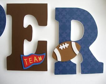 Hanging Wooden Letters - Sports Theme - Baseball, Football, Soccer, Basketball - Wood Letter Set for Nursery