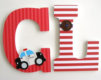 Wooden Letters for Bedroom Wall - Police PD - Nursery Name Décor for Boys Bedroom - Wood Letter Set