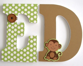 Wooden Letters for Boys Bedroom - Brown and Green - Hanging Wood Wall Letters for Nursery