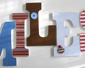 Blue Red & Brown Sock Monkey Custom Wooden Letters Nursery Name Décor, Unisex Bedroom, Hanging Wood Wall Decorations, Baby Shower Gift