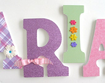 Wood Letters for Nursery - Pink, Green, and Purple - Wooden Letter Set