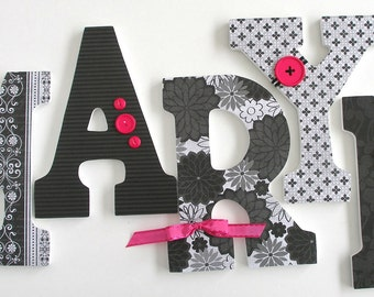 Baby Girl Wood Letter Set - Black and Hot Pink - Baby Shower Gift