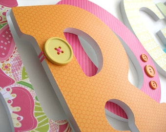 Nursery Wall Letters - Pink and Orange - Tropical Girl Bedroom - Custom Letter Set