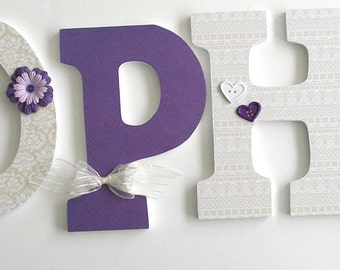 Custom Decorated Wooden Letters - Purple and Cream - Wood Baby Name Art