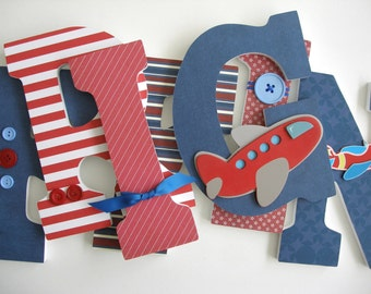 Wooden Letter Set - Airplane Nursery - Aviator Bedroom for Boys - Baby Shower Gift - Wood Letters - Wall Letters