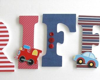 Wooden Letters for Nursery - Cars, Planes, and Trains Theme - Boys Nursery Decor - Custom Letter Set