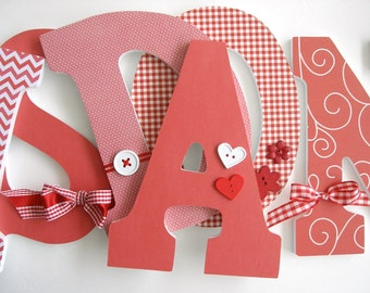 Custom Wooden Letters - Gingham Theme - Personalized Nursery Name Décor for Girl