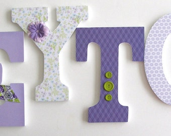 Custom Wood Letter Set - Lavender White, and Green - Hanging Wall Letters - Girls Nursery Decor