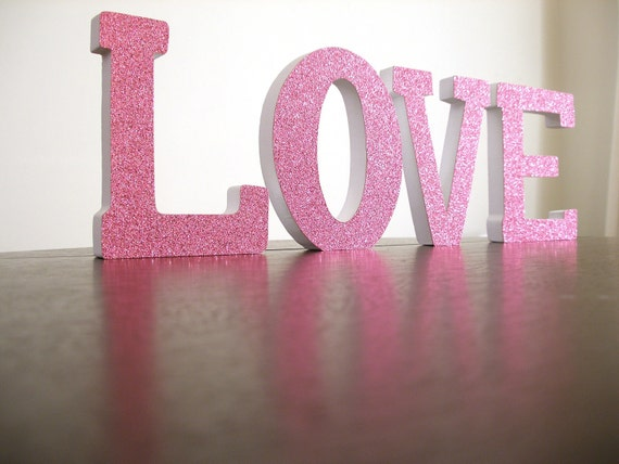 Items similar to custom hand decorated wood letters for Sparkly wooden letters