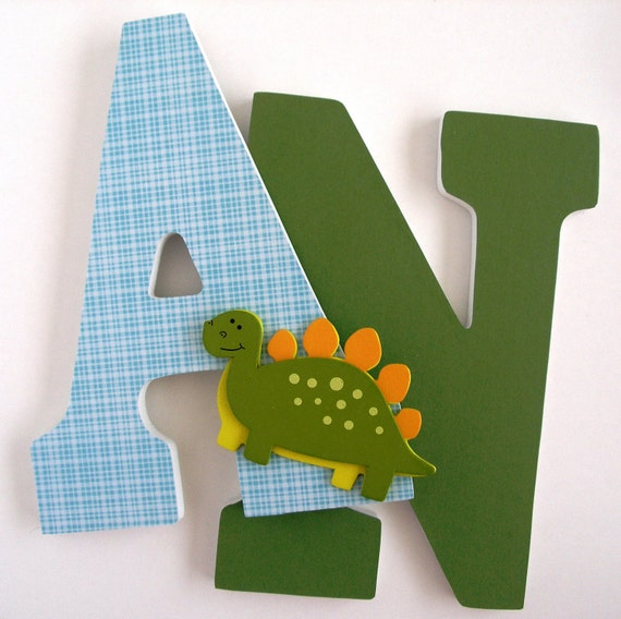 Wooden Letters for Nursery - Dinosaur Theme - Custom Decorated Wood Letter Set