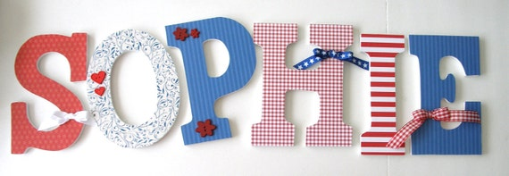 Set Of 6 Decorated 9 Wooden Letters Nursery Name By LetterLuxe