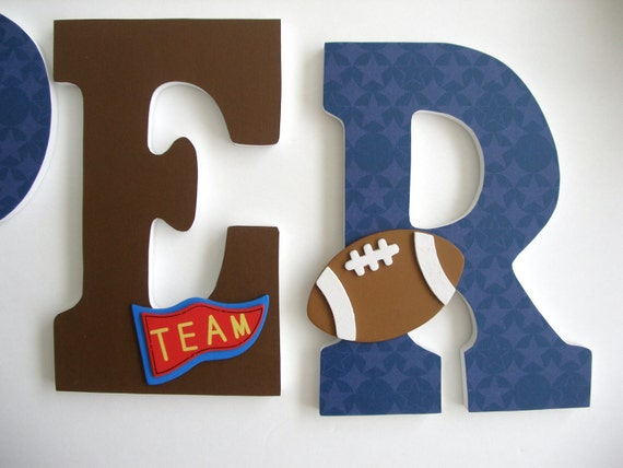 Boys Custom Decorated Wooden Letters Sports Theme By