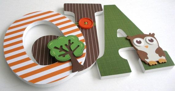 Wood Letters for Nursery - Orange, Brown, and Green - Wooden Hanging Bedroom Letter Set