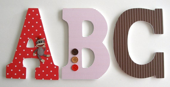 ABC Custom Decorated Wooden Letters, Nursery Alphabet Name Décor, Unisex Bedroom, Hanging Wood Wall Decorations, Birthday Baby Shower Gift
