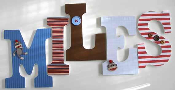 Blue Red & Brown Sock Monkey Custom Wooden Letters By